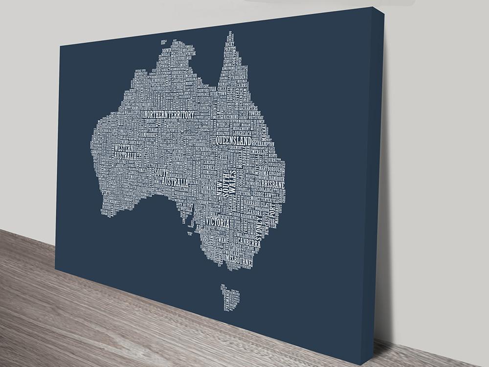 Australia Type Map wall art | Australia Word Map