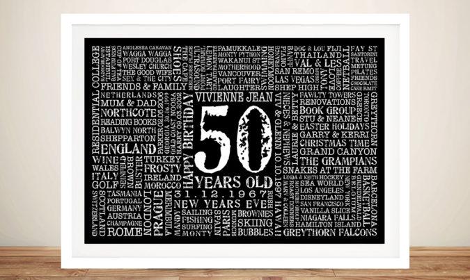 50th Birthday Present Art Present Idea