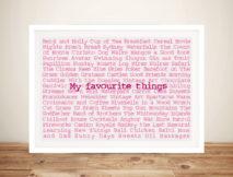 Favourite Things Custom Framed Art Gift Idea