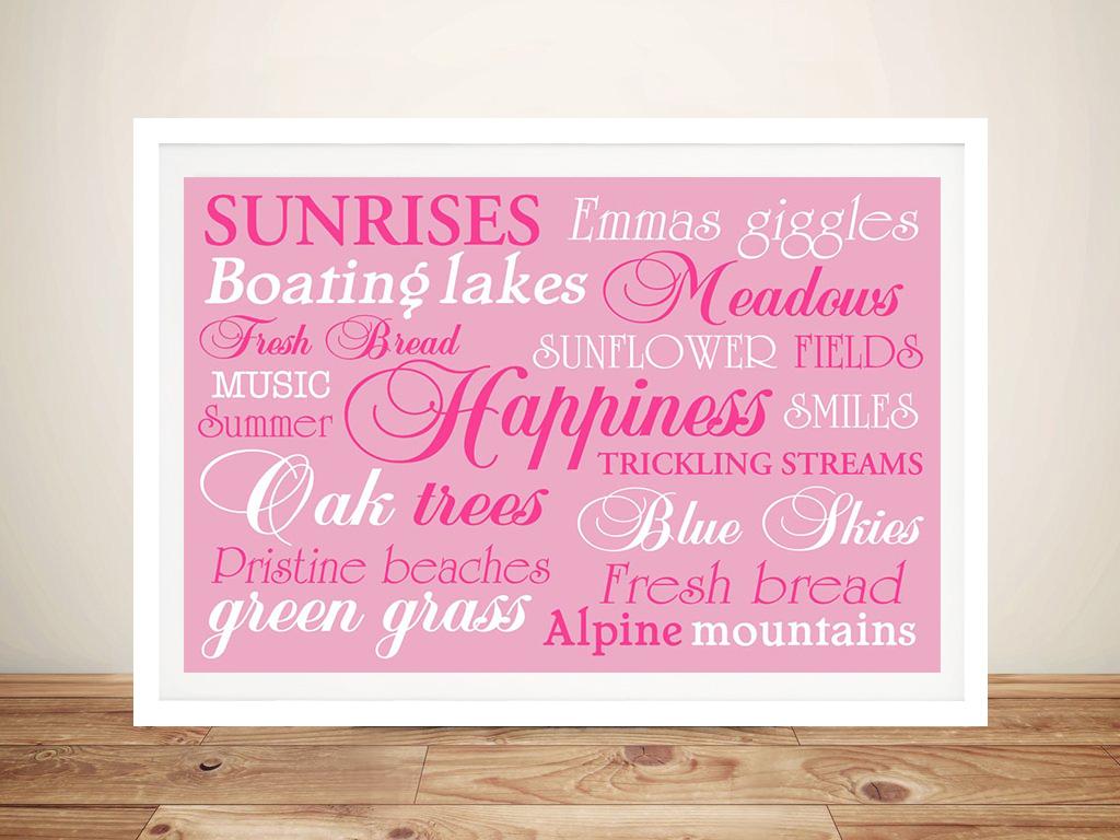Buy Personalised Custom Canvas Art   Happiness Pink – Bespoke Art
