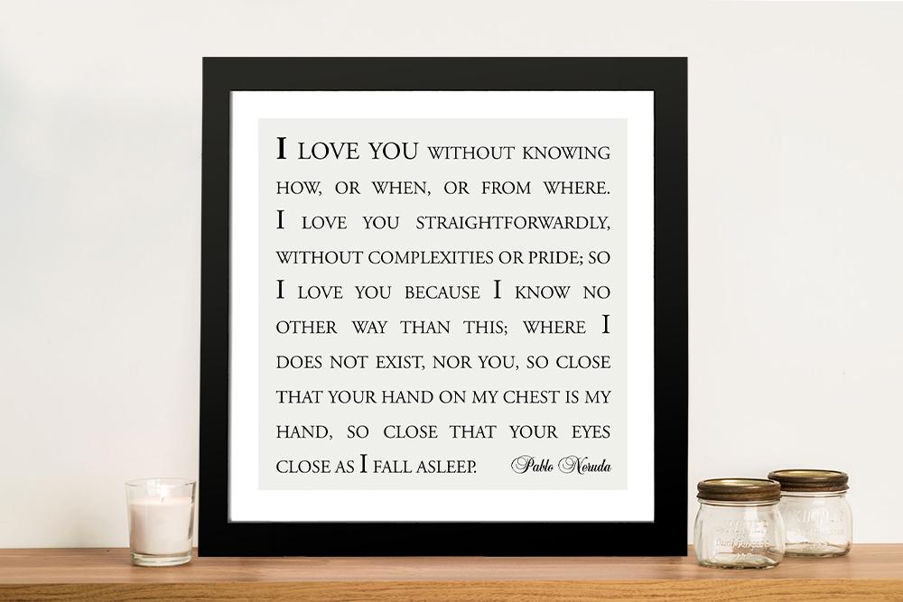 Love you straightforwardly Custom Framed Wall Art | Love You Straightforwardly