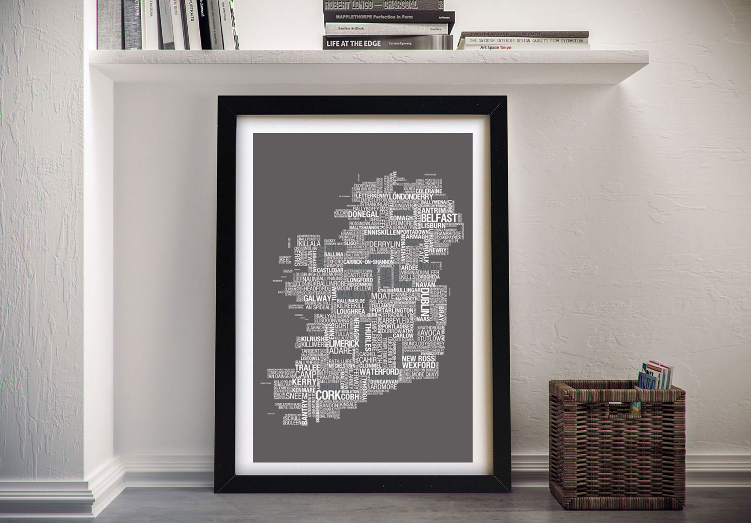 Map of Ireland Framed Wall Art   Custom Word Map With Location Title