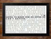 Favourite Films Personalised Canvas Word Art