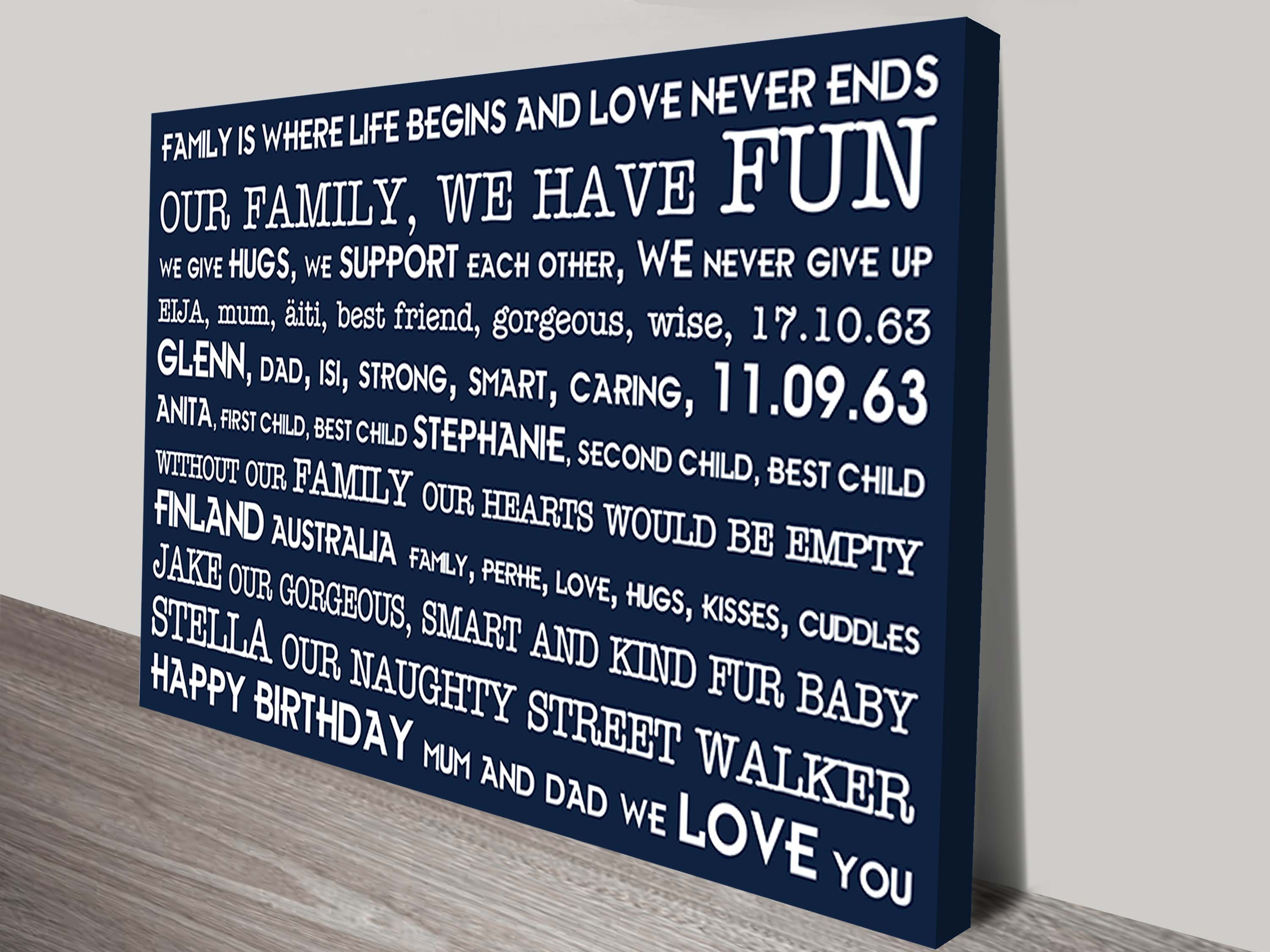 Poems and Rhymes Personalised Artwork on Canvas | Poems & Rhymes Style 2