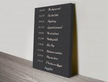 Timeline word art canvas