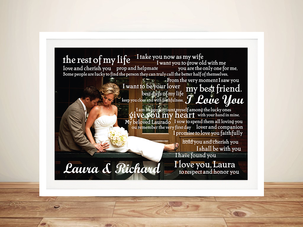 Personalised Wedding Vowels Framed Wall Art | Photo Word Clusters