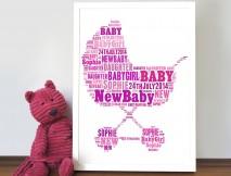 personalised word art new baby