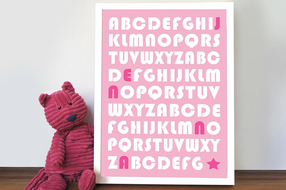 Baby Girl Alphabet Art | Alphabet Fun – Style 2