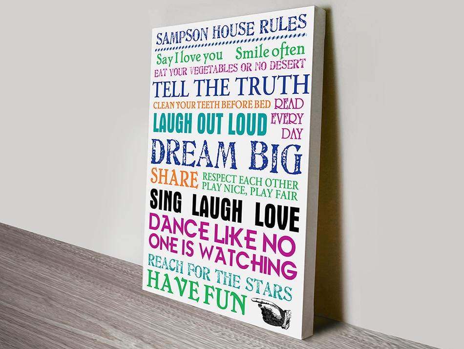 House Rules Canvas Art