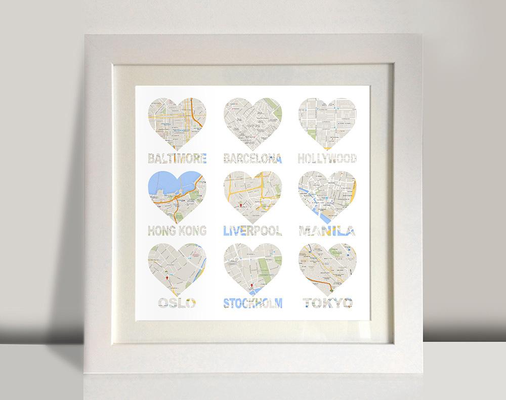 Heart shaped map framed art   Bespoke 9 Hearts – style 2