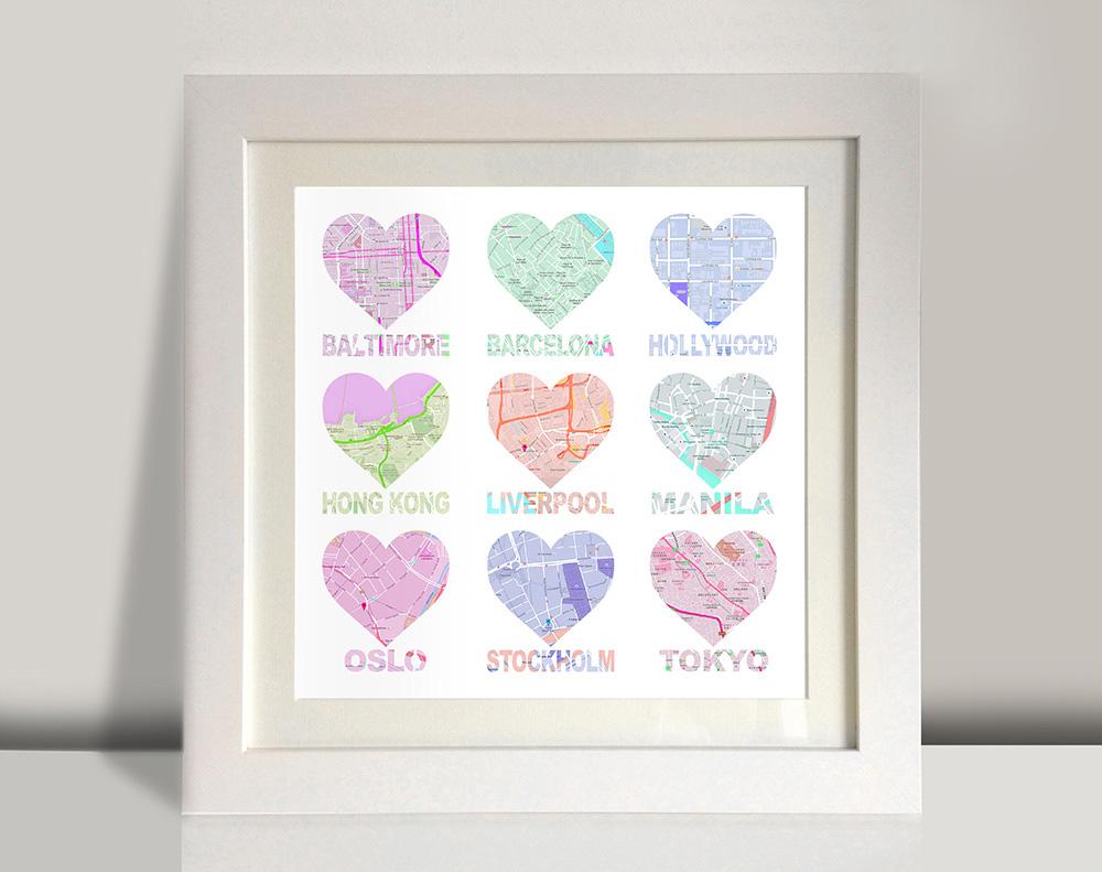 Heart shaped map wall art | Bespoke 9 Hearts – style 1