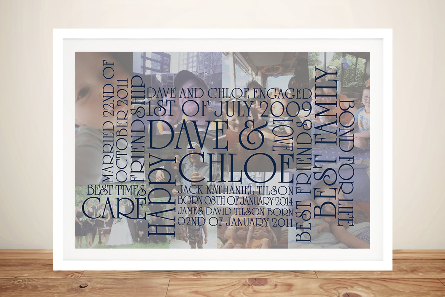 Personalised word art framed | Collage Typographic