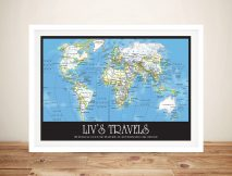 Personalised push pin travel map art Australia