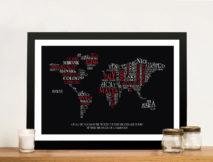 Typographic Word Map Art Custom Gifts Australia