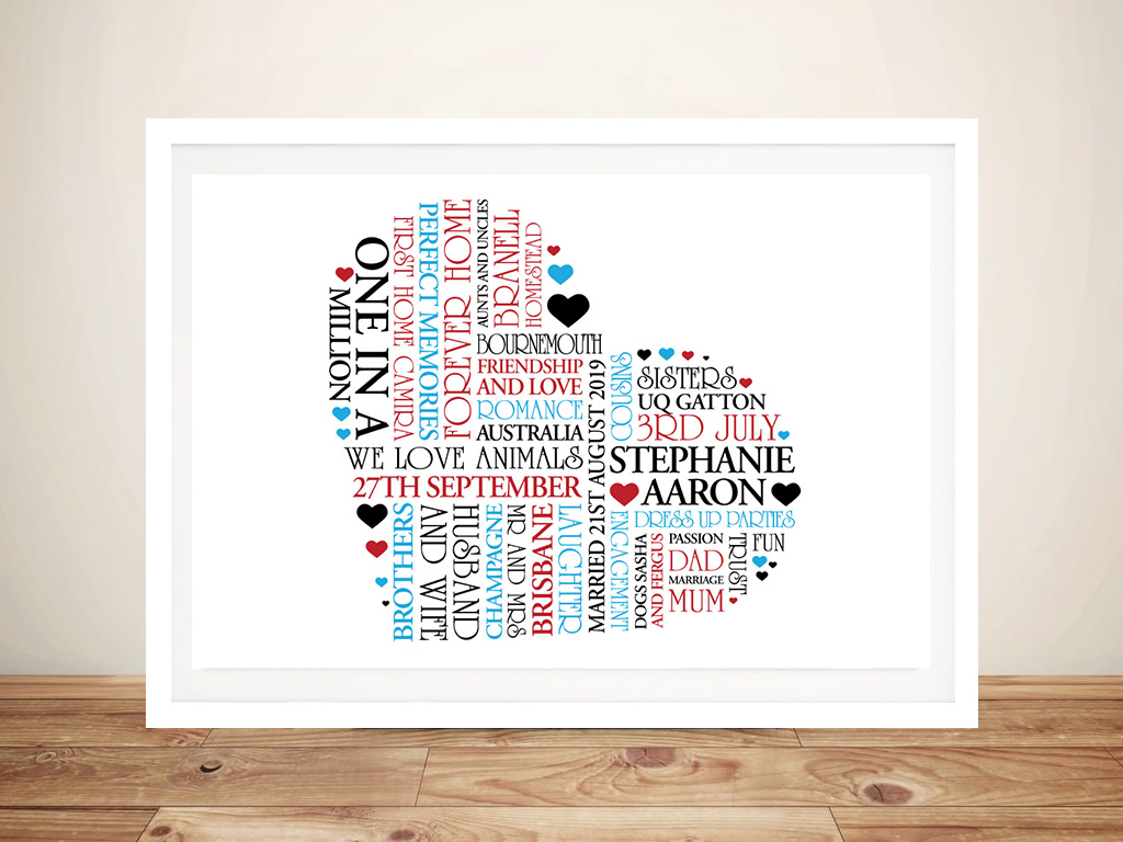 Personalised Heart Framed Wall Art | Hearts within Hearts