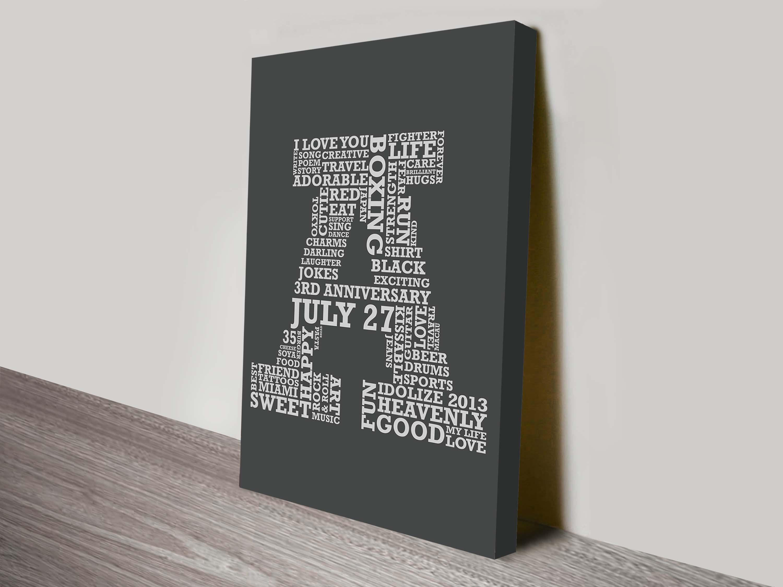Custom Letter Word Art   Bold Personalised Letters