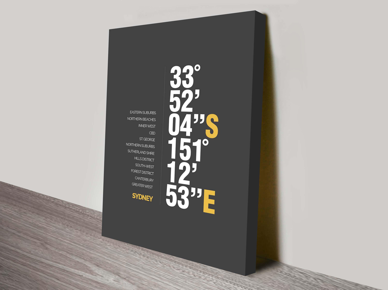 Sydney Coordinates custom art print | Custom Coordinates Art