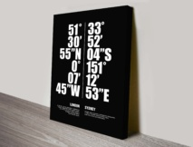 Sydney London Coordinates Wall Art