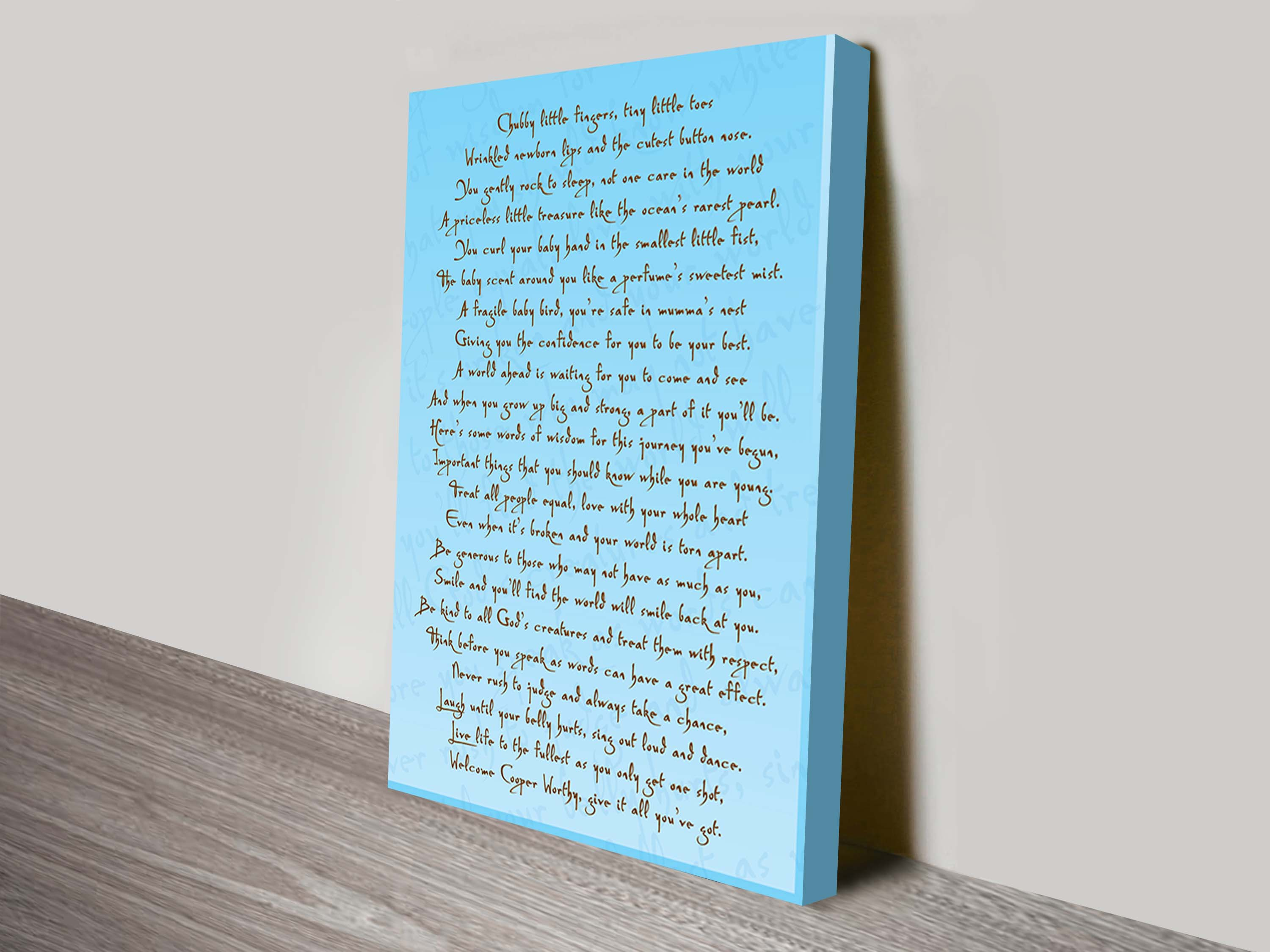 Personalised poem wall art sydney | Poems & Rhymes Style 4