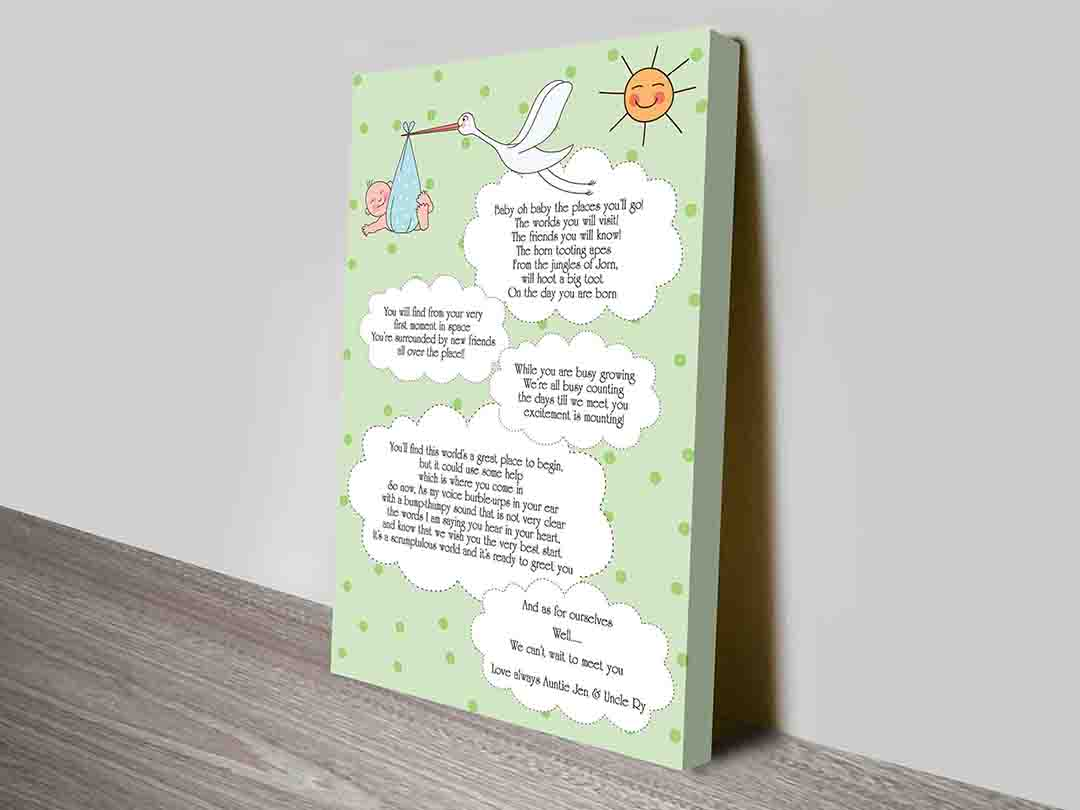 Dr Seuss Quotes New Born Baby Personalised Canvas Print | Baby oh Baby