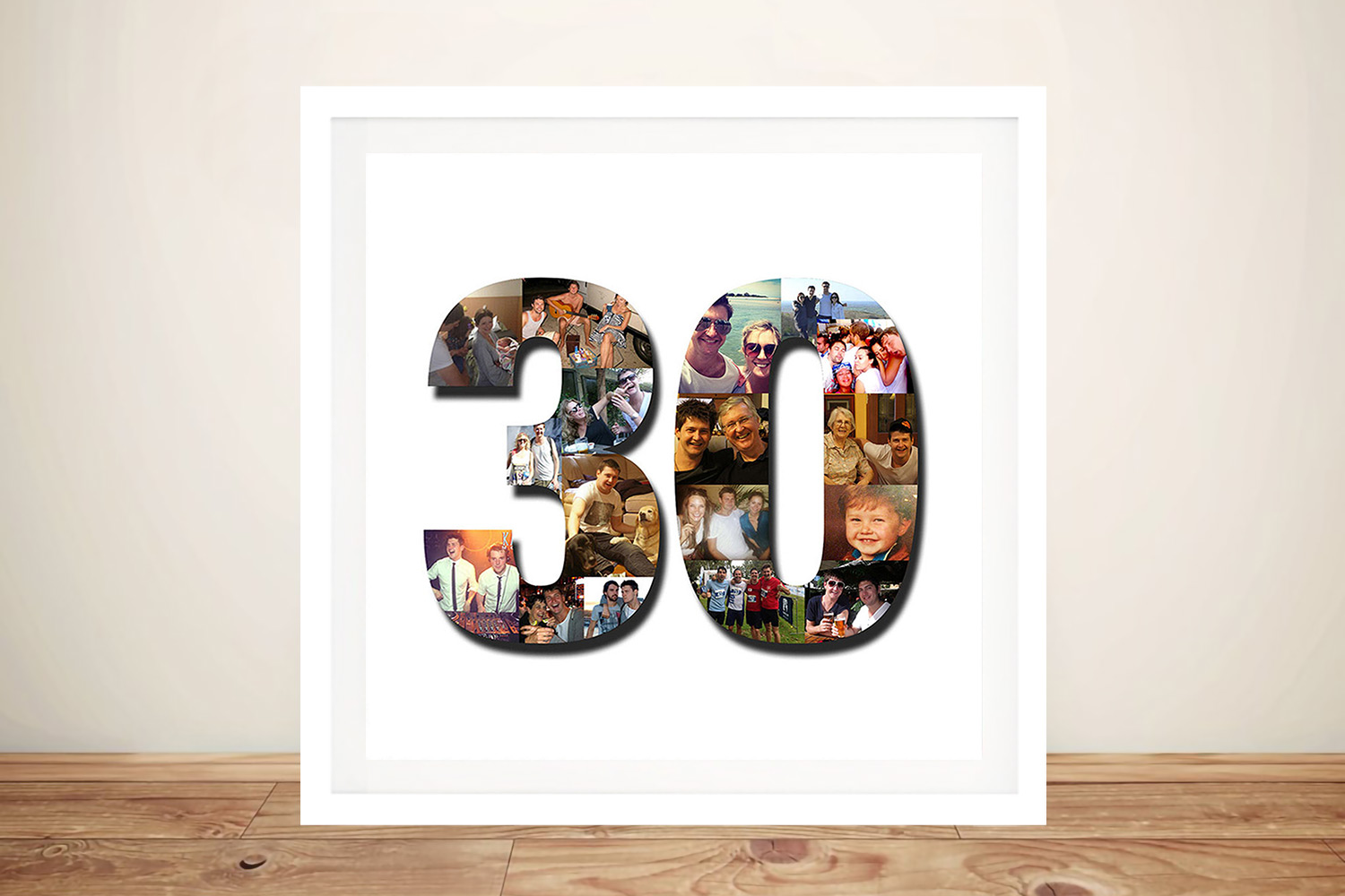 Number photo Birthday Collage Wall Art | Photo Number Collage