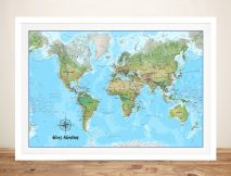 Push Pin Atlantis Map Bespoke Canvas Artwork