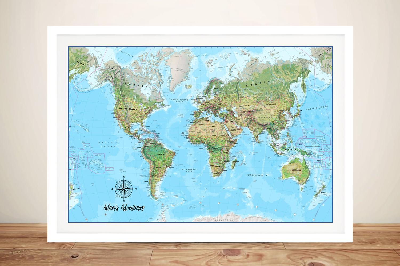 Push Pin Atlantis Map Bespoke Canvas Artwork | Push Pin World Map – Atlantis