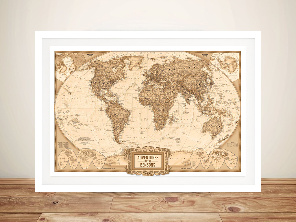 Personalised Adventures Push Pin World Map Framed Wall Art | Push Pin World Map – Globetrotter