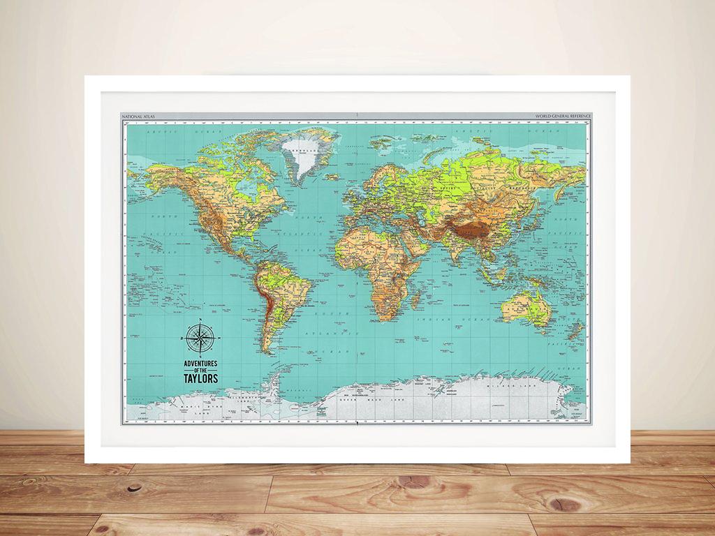 Explorer Push Pin World Map Framed Art Australia | Push Pin World Map – Explorer