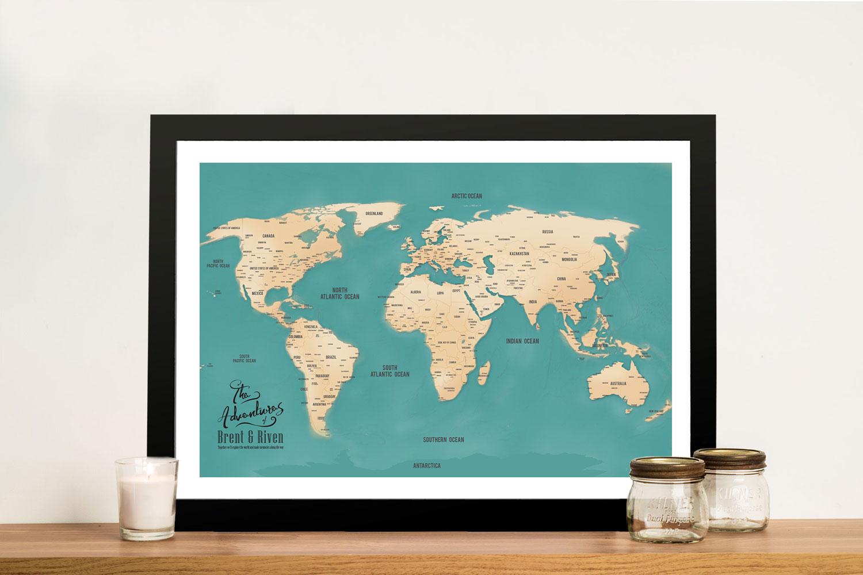 Aventuras Teal Push Pin World Map Framed Art   Push Pin World Map – Aventuras Teal