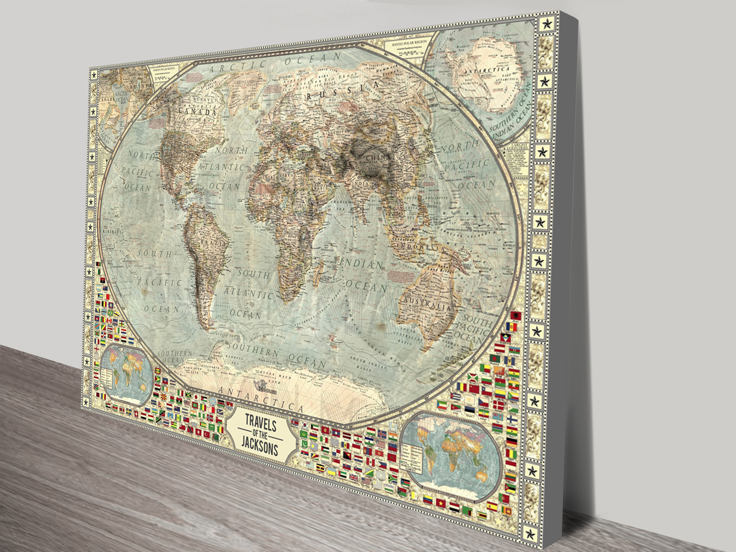 Customised Vintage Push Pin World Map Canvas Print | Push Pin World Map – Vintage