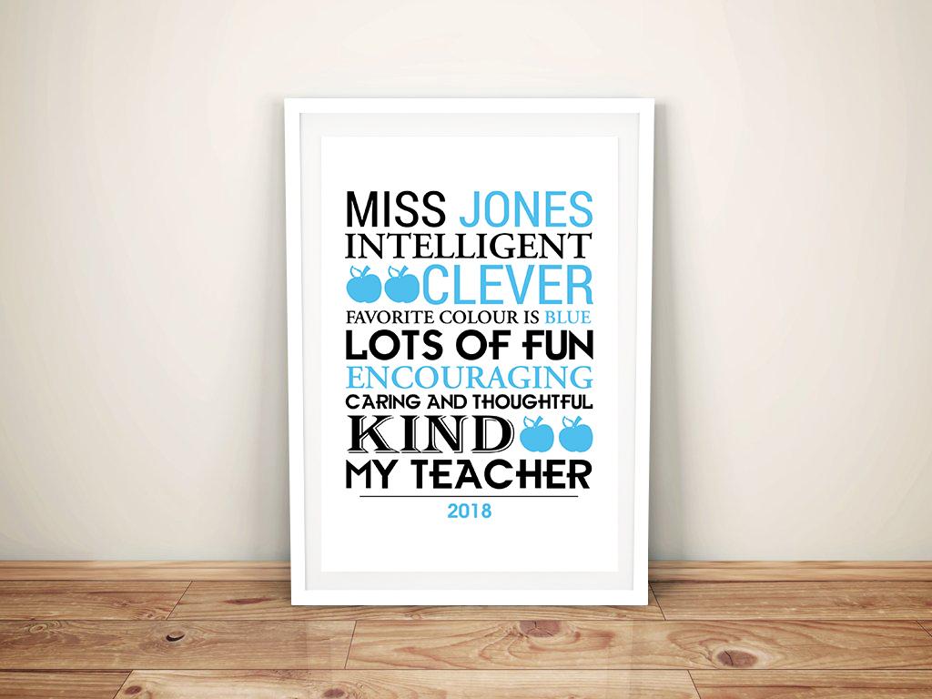 Personalised Teacher Framed Word Art | Our Teacher