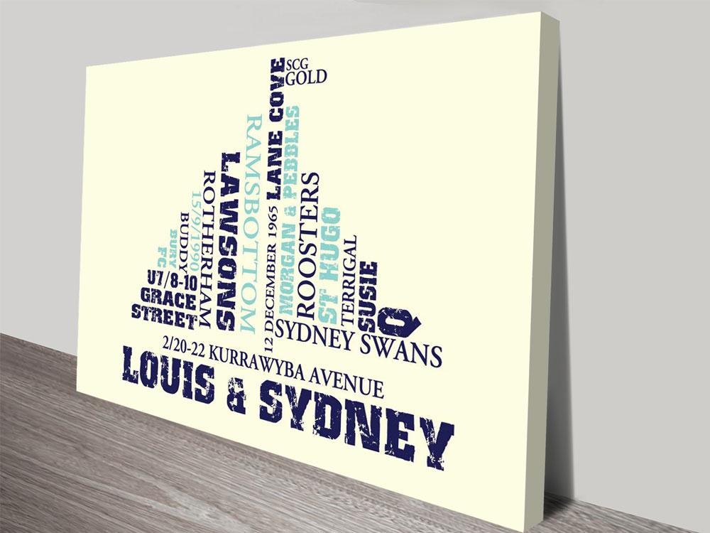Boat Custom shape word art canvas print   *Any Custom Shape