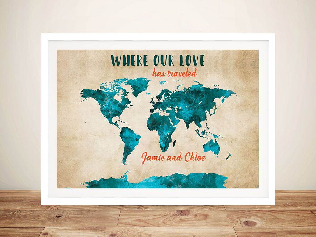 Vintage & Teal Custom Map Art | Vintage & Teal Custom Map Art