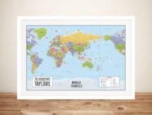 World map australia centric Framed Wall Art