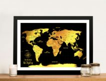 Customised Black & Gold Pushpin Travel Map Artwork