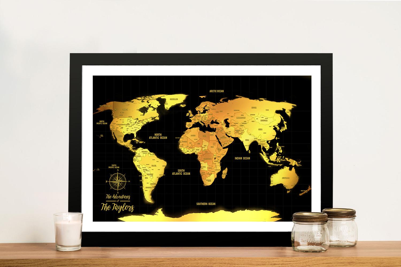 Customised Black & Gold Pushpin Travel Map Artwork | Black & Gold Push Pin Map