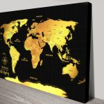 Personalised-Black-And-Gold-World-Map-Canvas-print