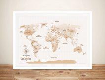 Pushpin World Map Framed Wall canvas art