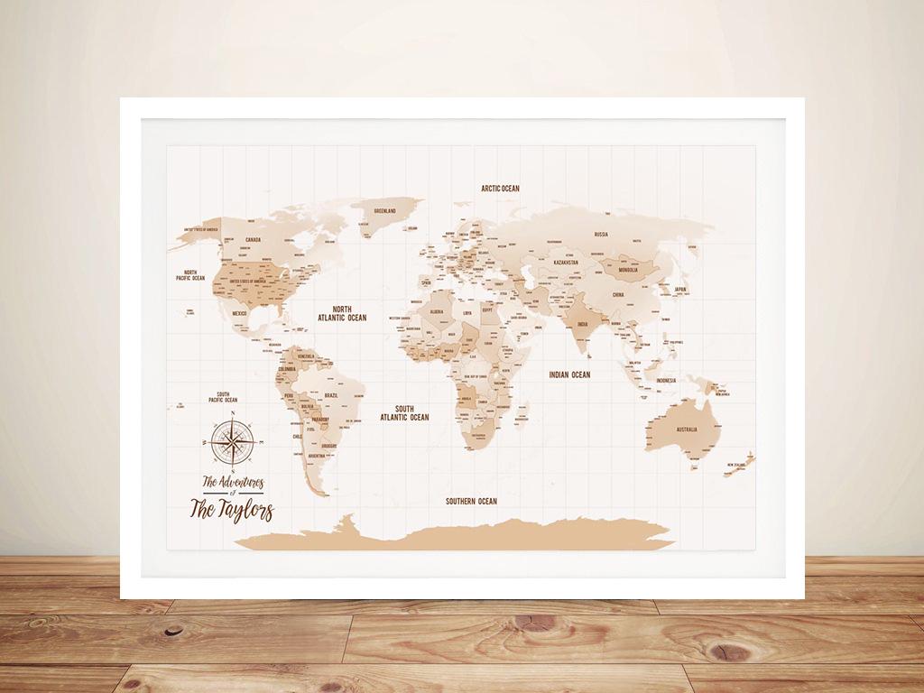 Pushpin World Map Framed Wall canvas art   Mocha Shades Push Pin Map