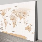 Light-Brown-Pushpin-World-Map-canvas-print