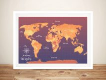 Orange Push Pin Map Canvas Customised Pictures Artwork
