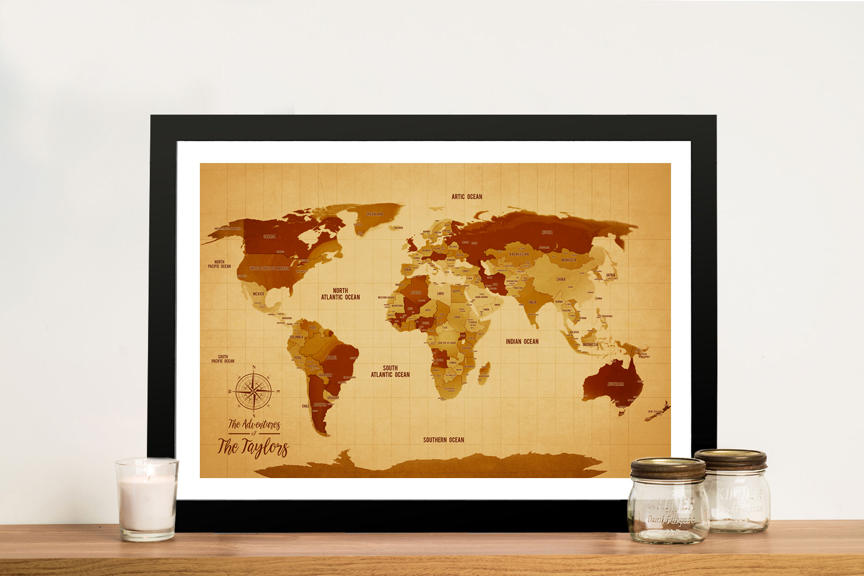 Vintage Corkboard World Travel Map with Pins | Vintage Shades Push Pin World Map