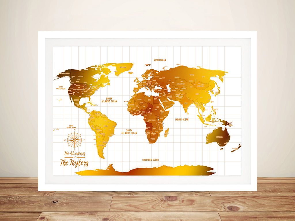 White And Gold World Map Framed Wall Art   White & Gold Push Pin Travel Map