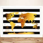 White-Stripes-And-Gold-Push-Pin-World-Map-Framed-Wall-Art