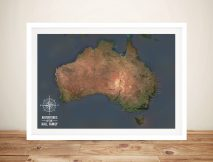Australia Push Pin Map Framed Wall Art