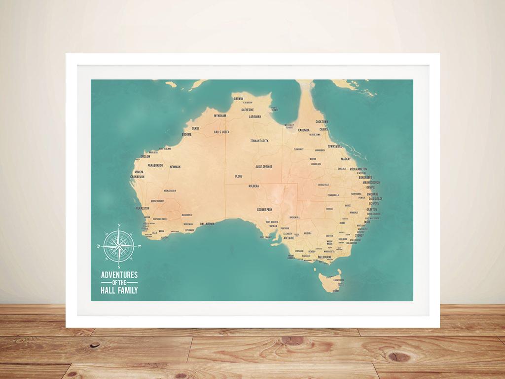 Teal Green Australia Push Pin Travel Map | Australia Push Pin Map – Teal