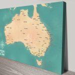 Teal-Green-Australia-Push-Pin-Travel-Map-Canvas-print