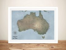 Custom Cyan Australia Push Pin Travel Map