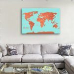 Custom-Turquoise-and-Orange-Push-Pin-World-Map-Canvas